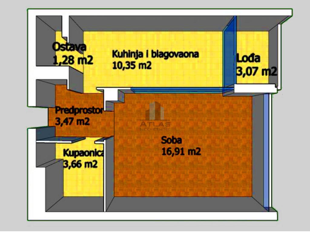 Zagreb, Savica, jednosoban stan 39,3 m2, lođa, 2. kat