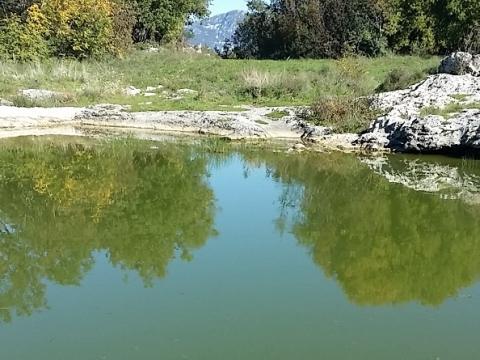Nekretnine u Istri, Labin, građevinsko zemljište blizu malog  jezera sa ribicama