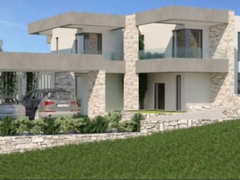 Istra, Labin(Rabac), građevinsko zemljište sa dozvolom i pogledom na more