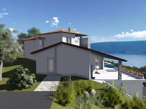 Istra, Rabac okolica(20km), kuća sa bazenom i pogledom na more